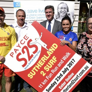 13-4-17   Payce Lifeline Pic Australia Media Chris Ryan, Development director at Payce(grey suit) Mark Sergeant, President Wanda SLSC(White shirt),Sue Banks, Lifeline(floral top), Meg Brannock, Wanda SLSC(Blue top), Michael Bonnici, Wanda SLSC (Yellow SLS top)